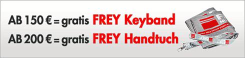 Gratis Keyband und Handtuch